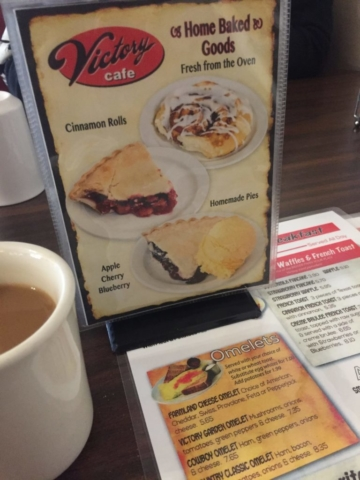 Menus and coffee at Victory Cafe Galena IL