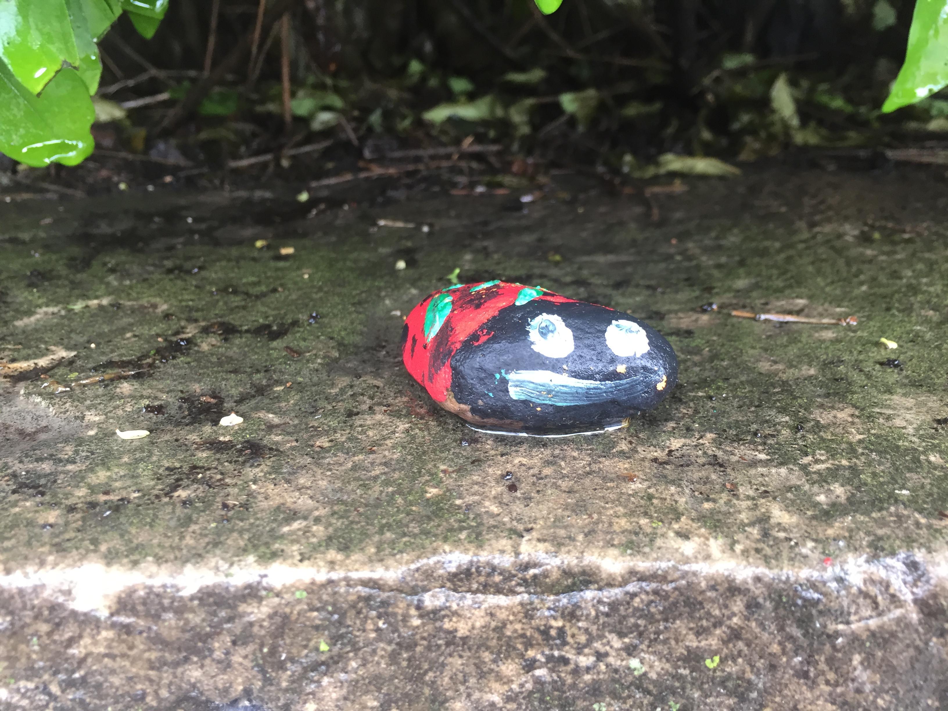 Small rock painted to look like ladybug
