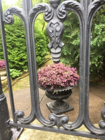 View through decorative wrought iron rails into a garden